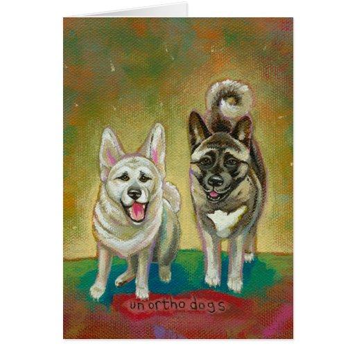 Diversión feliz de los perros del arte del perro d tarjeta
