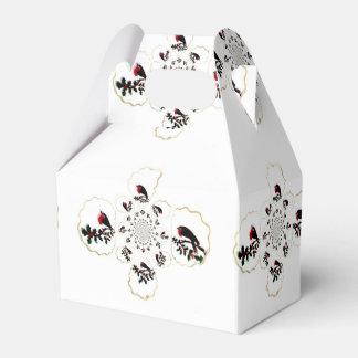 Diversión festiva del petirrojo del acebo caja para regalo de boda