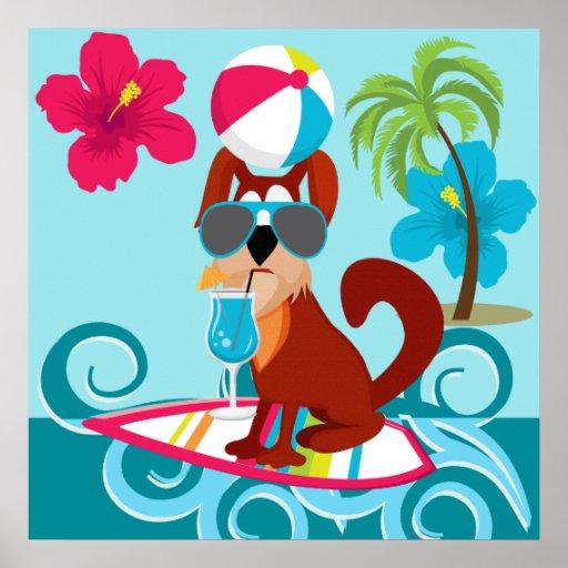 Diversión fresca del fiesta de la playa del verano póster