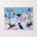 Diversión Labradors de esquí del invierno Puzzle Con Fotos