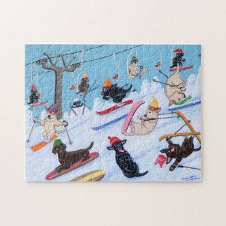 Diversión Labradors de esquí del invierno Rompecabezas