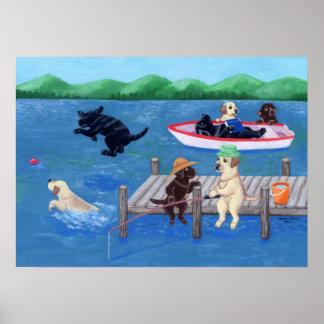 Diversión Labradors del lago Poster
