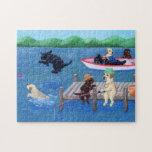 Diversión Labradors del lago Rompecabeza Con Fotos