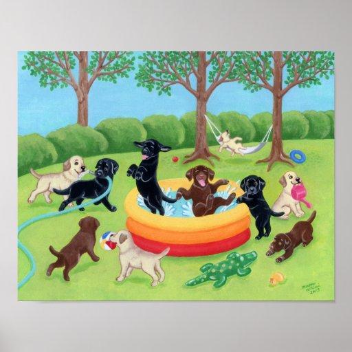 Diversión Labradors del verano Póster