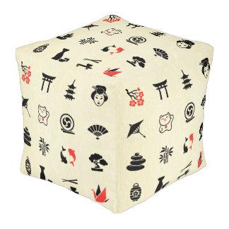 Diversión linda de los símbolos asiáticos de la puff cuadrado
