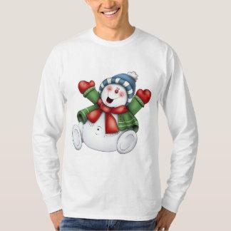 diversión linda del invierno del muñeco de nieve playera