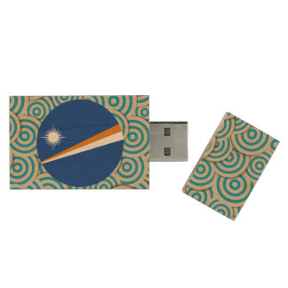 Diversión llenada, bandera redonda de Marshall Pen Drive De Madera USB 2.0