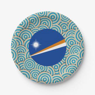 Diversión llenada, bandera redonda de Marshall Plato De Papel De 7 Pulgadas
