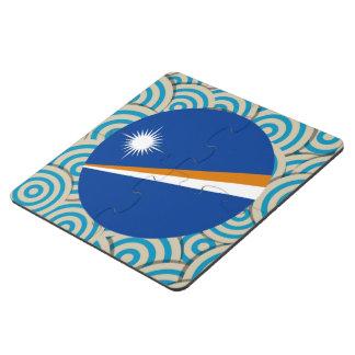 Diversión llenada, bandera redonda de Marshall Posavasos De Puzzle