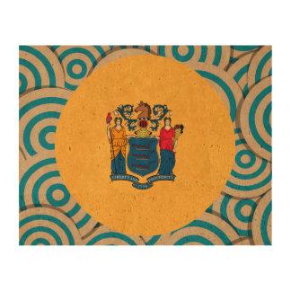 Diversión llenada, bandera redonda de New Jersey Papel De Corcho Para Fotos