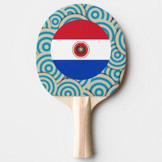 Diversión llenada, bandera redonda de Paraguay Pala De Ping Pong