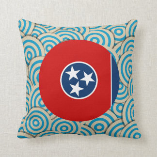 Diversión llenada, bandera redonda de Tennessee Cojin