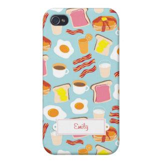 Diversión personalizada del desayuno iPhone 4/4S funda