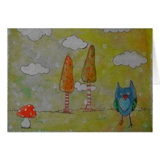 diversión poco búho de la hierbabuena de banal tarjeta de felicitación