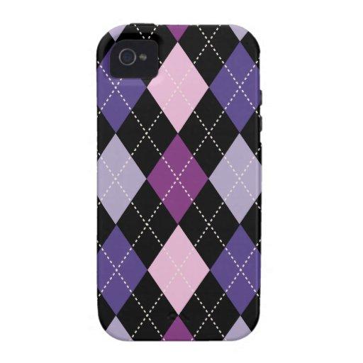 Diversión púrpura rosada de moda retra de Argyle Funda Case-Mate Para iPhone 4