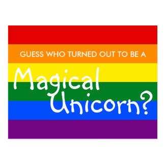 Diversión que viene hacia fuera unicornio mágico postales