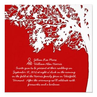 """Diversión roja del árbol de la caída del granero y invitación 5.25"""" x 5.25"""""""