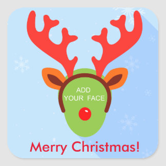 Diversión Rudolph de encargo el navidad del reno Pegatina Cuadrada