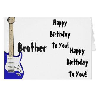 Diversión, saludo para un hermano, guitarra azul tarjeta de felicitación