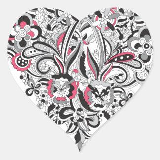 Diversión subió pétalo del corazón del flower pegatina en forma de corazón