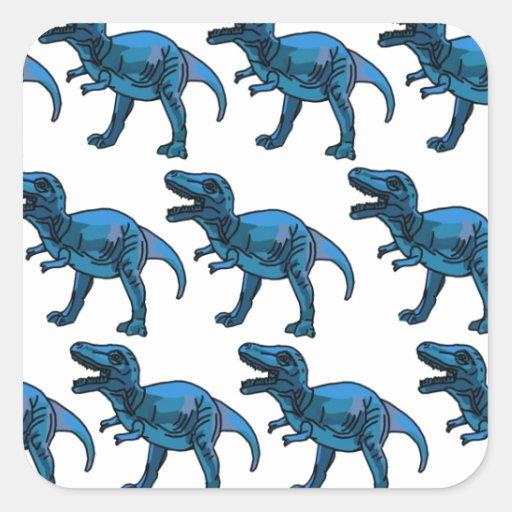 Diversión T-Rex azul elegante con clase Pegatina Cuadrada