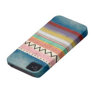 Diversión única azul del zigzag Case-Mate iPhone 4 protector