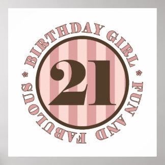 Diversión y 21ros regalos de cumpleaños fabulosos póster