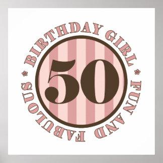 Diversión y 50.os regalos de cumpleaños fabulosos poster