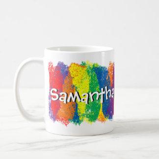 Diversión y arco iris lindo de los colores persona taza