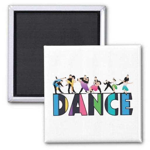 Diversión y danza rayada colorida de los bailarine imán de nevera