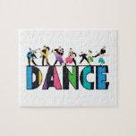 Diversión y danza rayada colorida de los bailarine rompecabezas con fotos