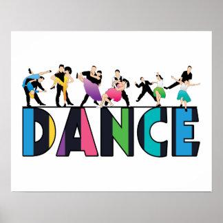 Diversión y danza rayada colorida de los póster