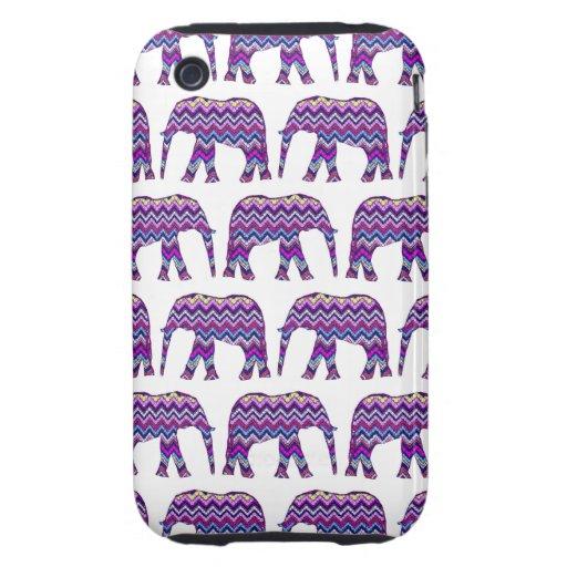 Diversión y elefantes intrépidos de Chevron en Tough iPhone 3 Carcasas