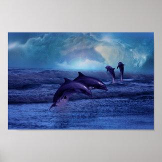 Diversión y juego de los delfínes impresiones