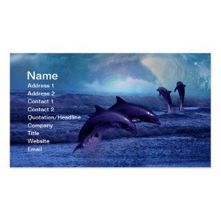 Diversión y juego de los delfínes tarjetas de visita