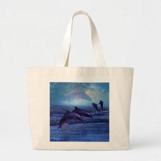 Diversión y juego del delfín bolsa de tela grande