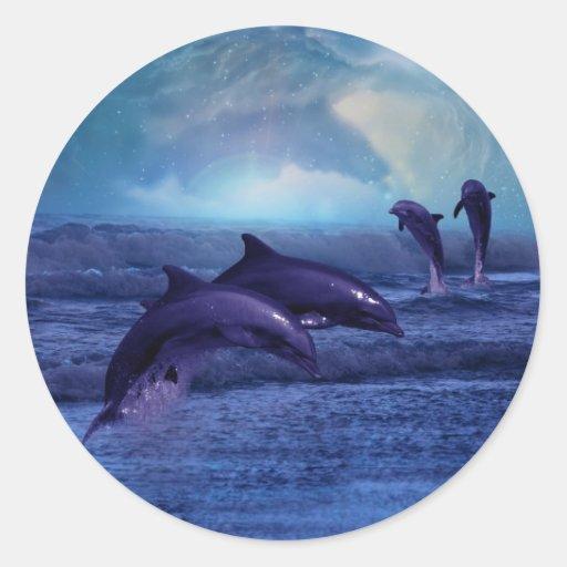 Diversión y juego del delfín etiquetas redondas