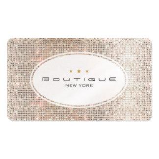 Diversión y lentejuelas de plata del boutique lind plantilla de tarjeta de visita