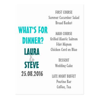 Diversión y menú moderno del boda tarjeta postal