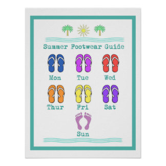 Diversión y poster colorido de los flips-flopes