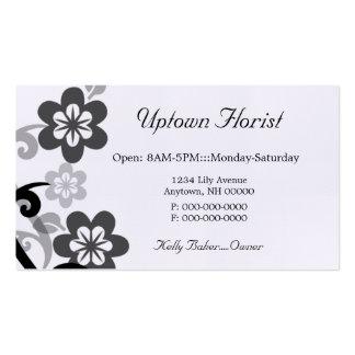 Diversión y tarjeta de visita floral coqueta, gris