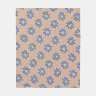 Diversity Blue Flowers Pink Detail on any Color Fleece Blanket