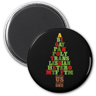 Diversity Christmas Tree Text 2 Inch Round Magnet