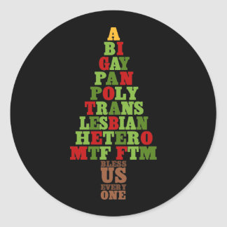 Diversity Christmas Tree Text Classic Round Sticker