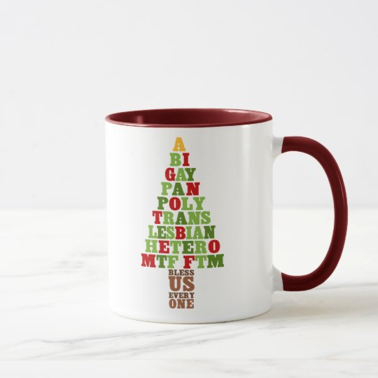 Diversity Christmas Tree Text Mug