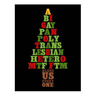 Diversity Christmas Tree Text Postcard