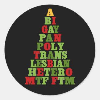 Diversity Holiday Tree Classic Round Sticker