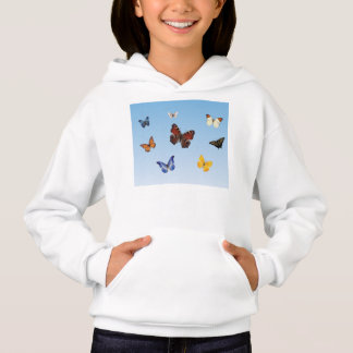 Diversity in Nature, Butterflies in a Blue Sky Hoodie