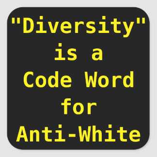 Diversity is a code word for Anti-White Square Sticker
