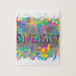 "Diversity. Jigsaw Puzzle<br><div class=""desc"">Digital abstract artwork depicting dry brushed colors with the embossed word &quot;diversity&quot;.</div>"